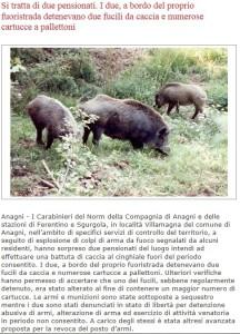 L'articolo di Ciociaria Oggi sull'episodio di bracconaggio ad Anagni.