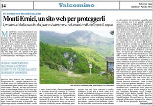 L'articolo del quotidiano Ciociaria Oggi del 24/08/2013